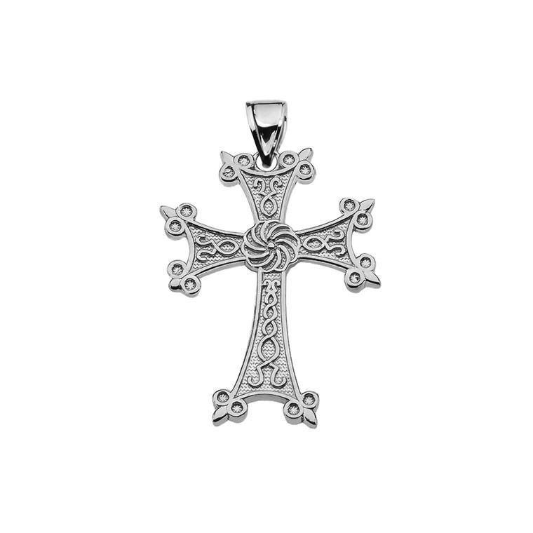 "Eternity Armenian Cross ""Khachkar"" Sterling Silver Pendant Necklace (Small)"