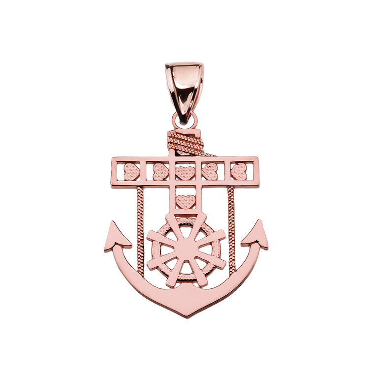 Rose Gold Mariner Anchor Pendant Necklace