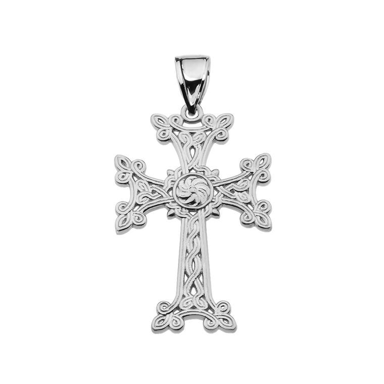 "Eternity ""Khachkar"" Armenian Cross White Gold Pendant Necklace (Small)"