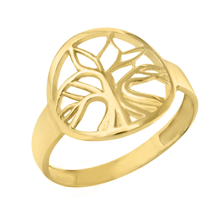 Yellow Gold Tree of Life Circular Filigree Women's Ring