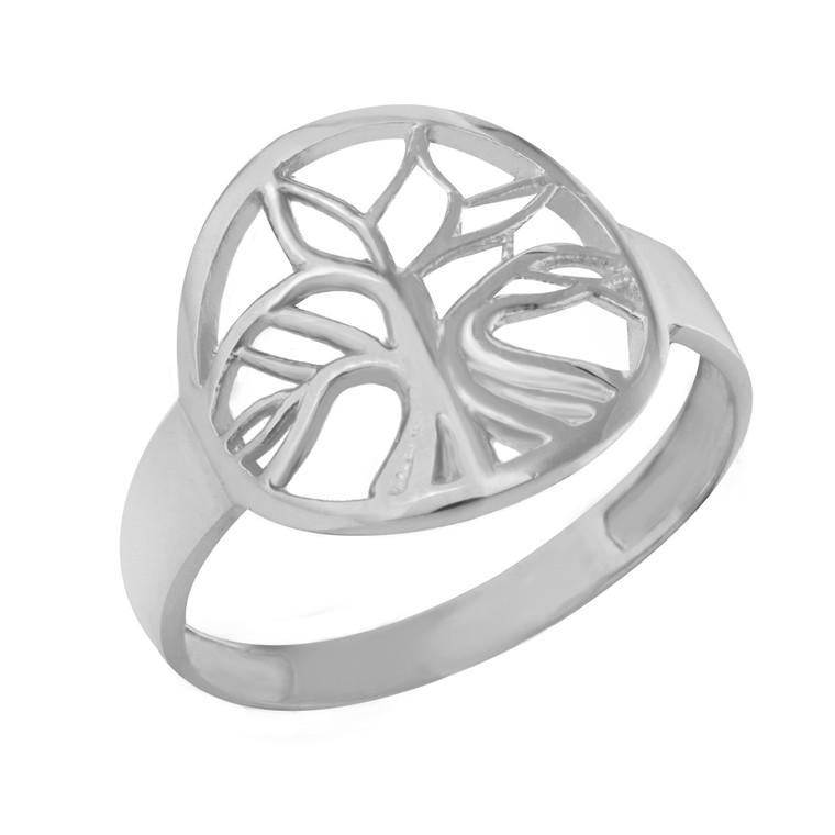 White Gold Tree of Life Circular Filigree Women's Ring