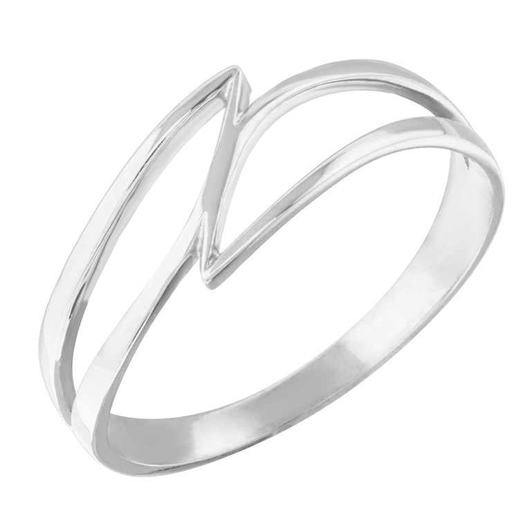 Sterling Silver Double Swish Outline Openwork Minimal Women's Ring