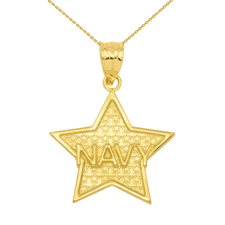 Yellow Gold Navy Star Pendant Necklace
