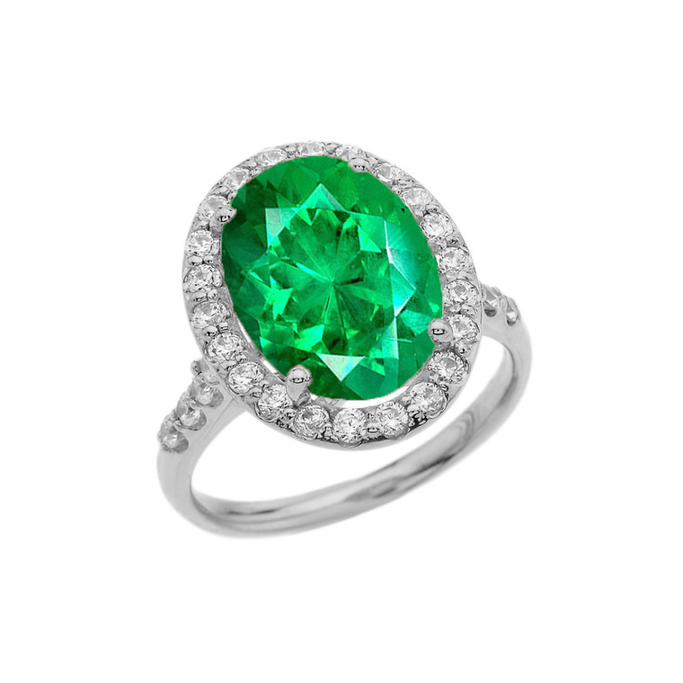Sterling Silver Engagement Ring With 10 ct Oval Green CZ Center Stone