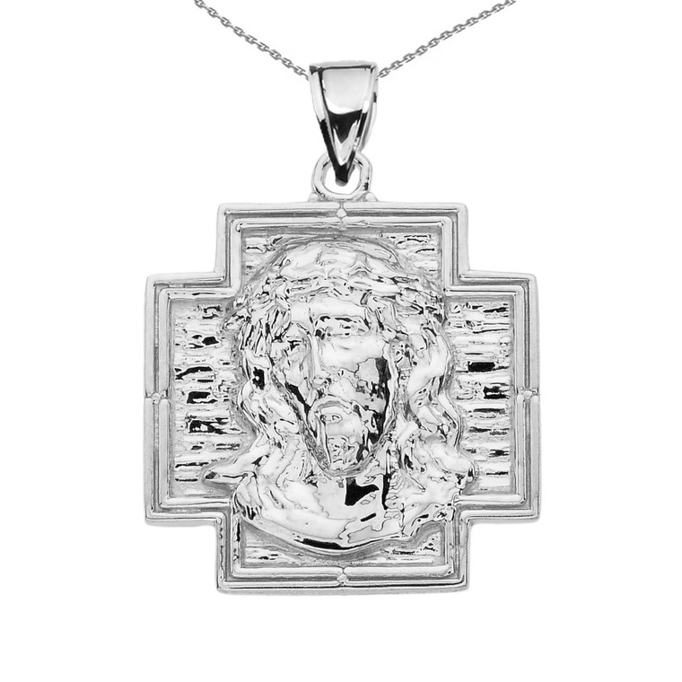 White Gold Antique Greek Cross Pendant Necklace
