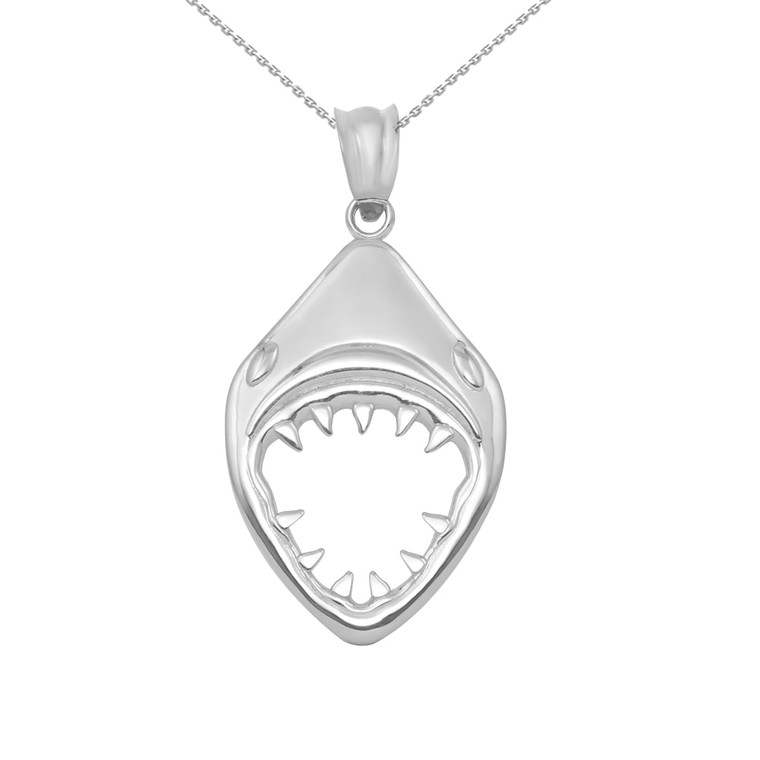 White Gold Great White Shark Jaws Pendant Necklace