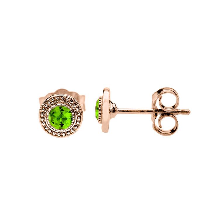 Rose Gold Peridot Stud Earrings