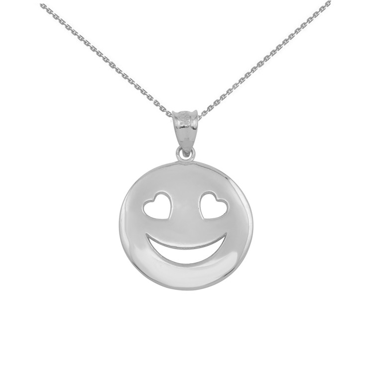White Gold Heart Eyes Smiley Face Pendant Necklace