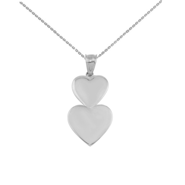 Sterling Silver Two Stacked Hearts Love Pendant Necklace