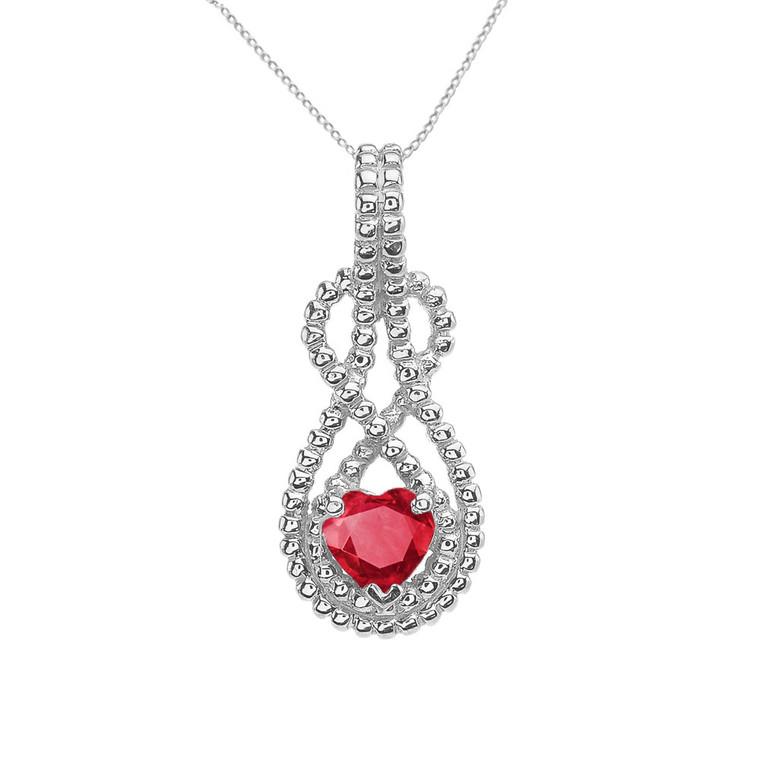 Sterling Silver Heart Shaped (LCR) Double Infinity Hidden Bail Pendant