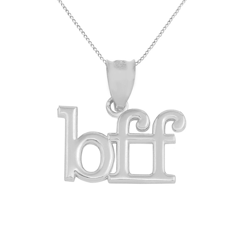 Solid White Gold BFF Best Friends Forever Pendant Necklace