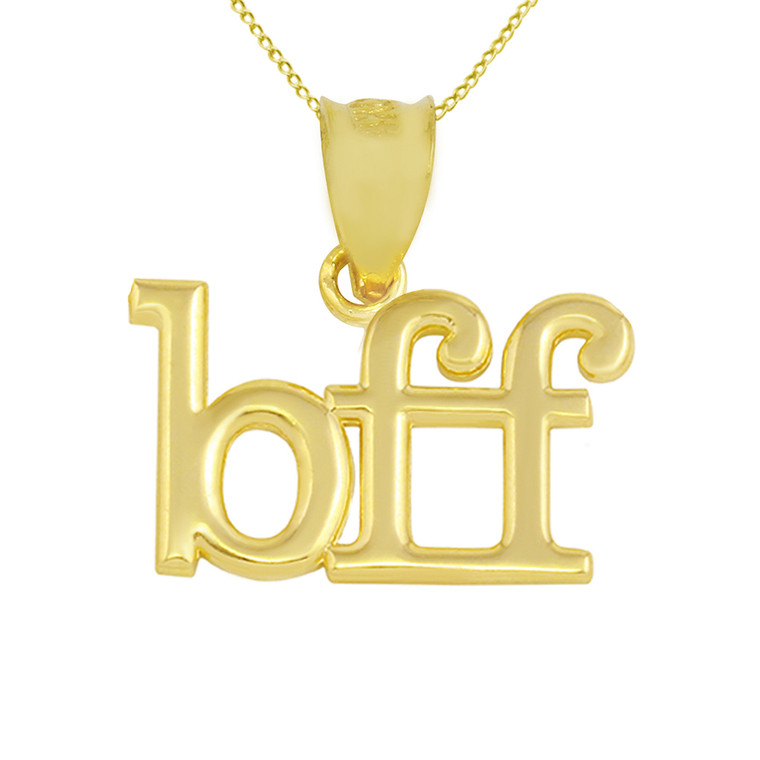 """Solid Yellow Gold BFF Best Friends Forever Pendant Necklace (0.79"""" )"""