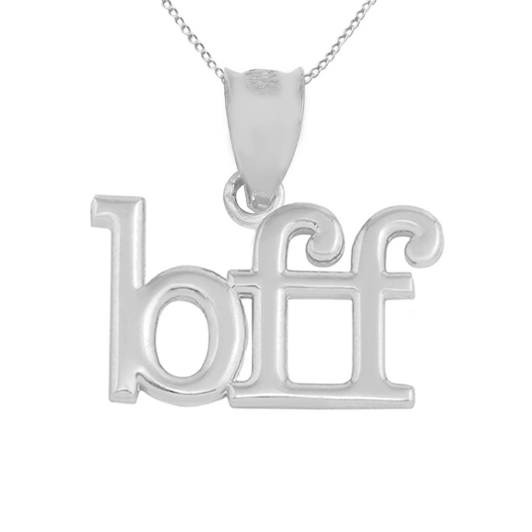 """Solid White Gold BFF Best Friends Forever Pendant Necklace (0.79"""" )"""