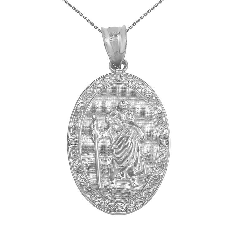 "Sterling Silver Saint Christopher Medallion CZ Pendant Necklace ( 1.12"")"