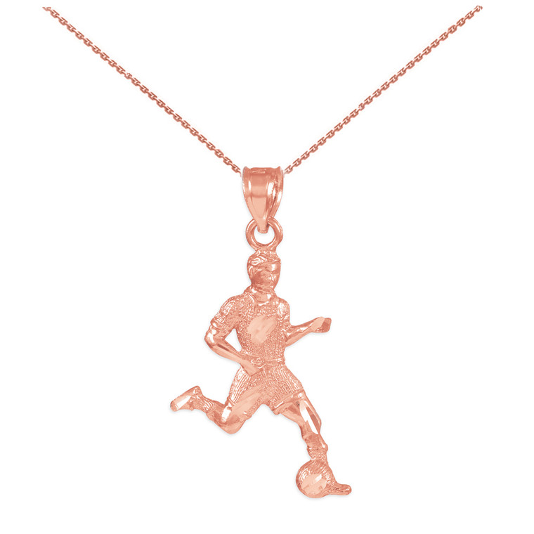Soccer Player Rose Gold Charm Sports Pendant Necklace