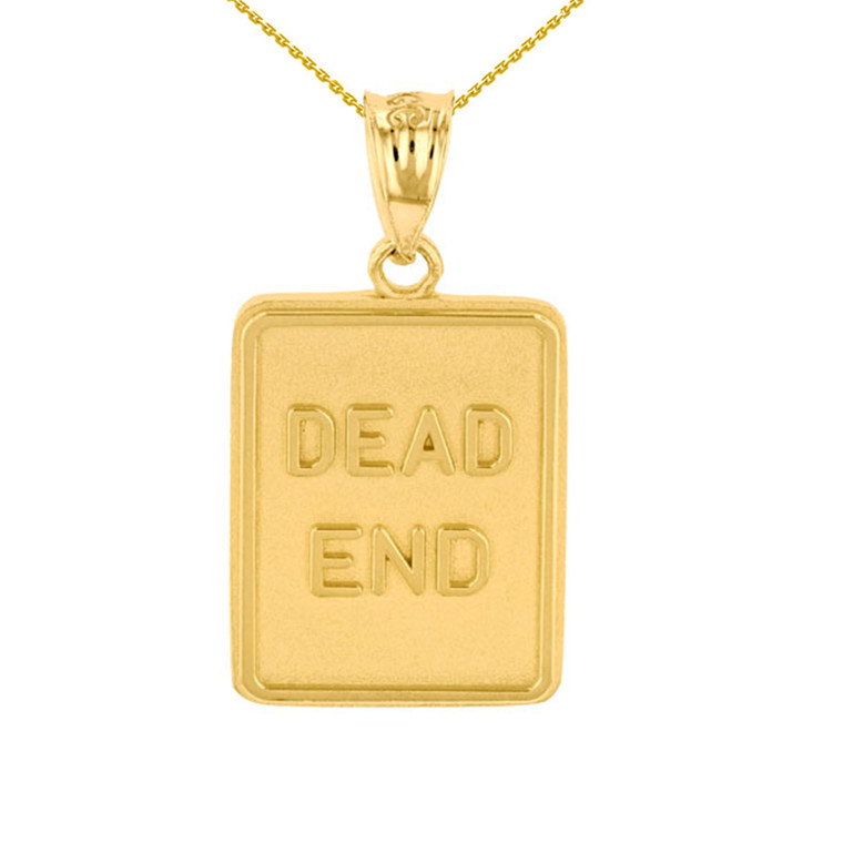 Yellow Gold Dead End Traffic Sign Pendant Necklace