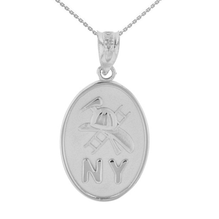 Sterling Silver New York Firefighter Oval Medallion Pendant Necklace
