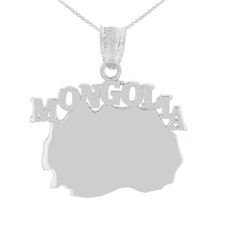White Gold  Mongolia Country Pendant Necklace