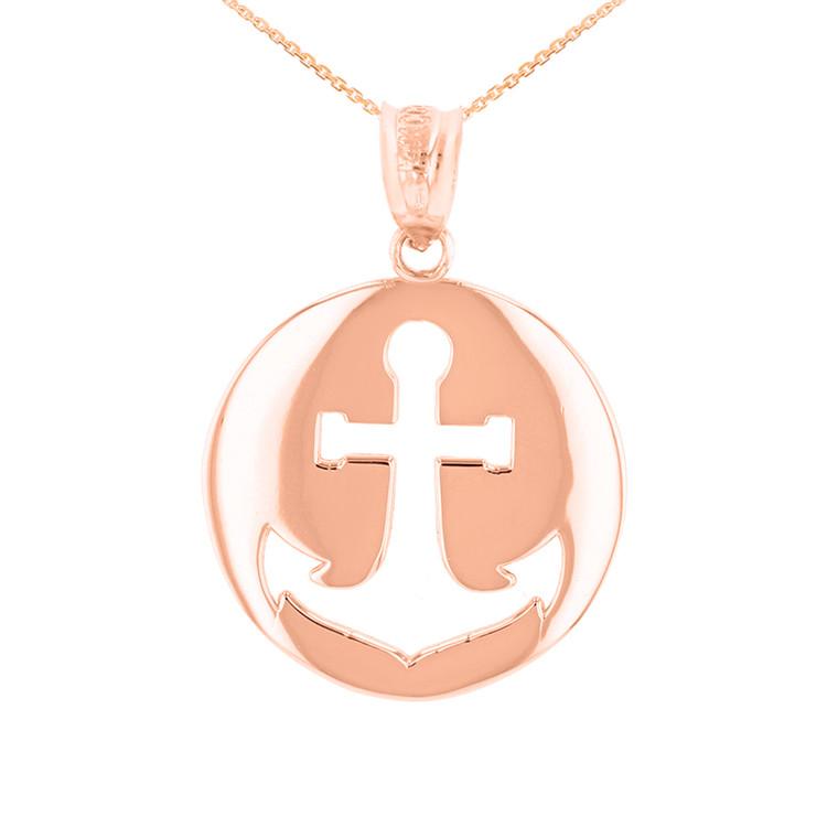 Rose Gold Anchor Nautical Pendant Necklace