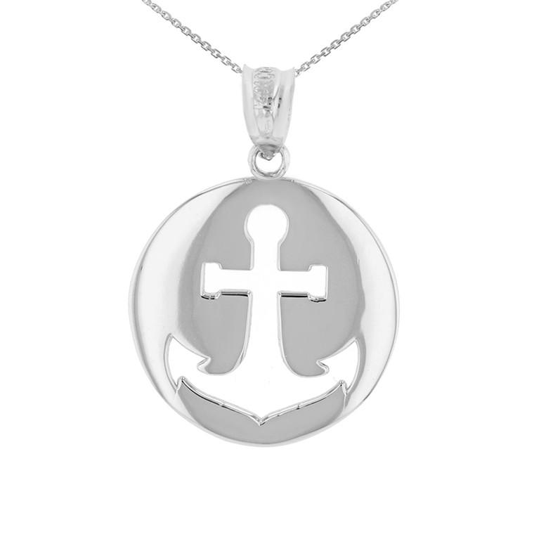White Gold Anchor Nautical Pendant Necklace