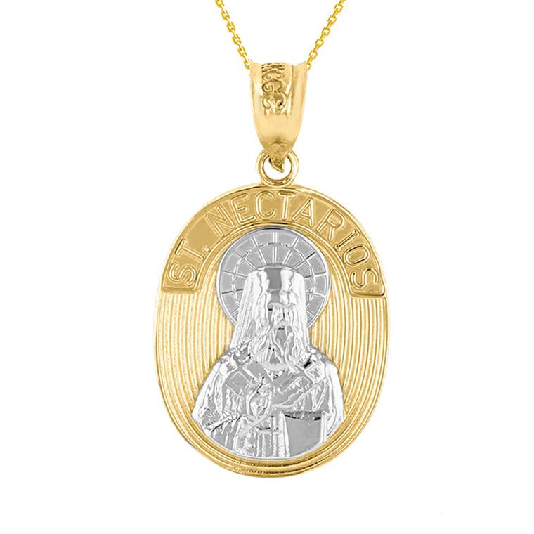 Two Tone Yellow Gold Saint Nectarios of Aegina Greek Orthodox Engravable Pendant Necklace