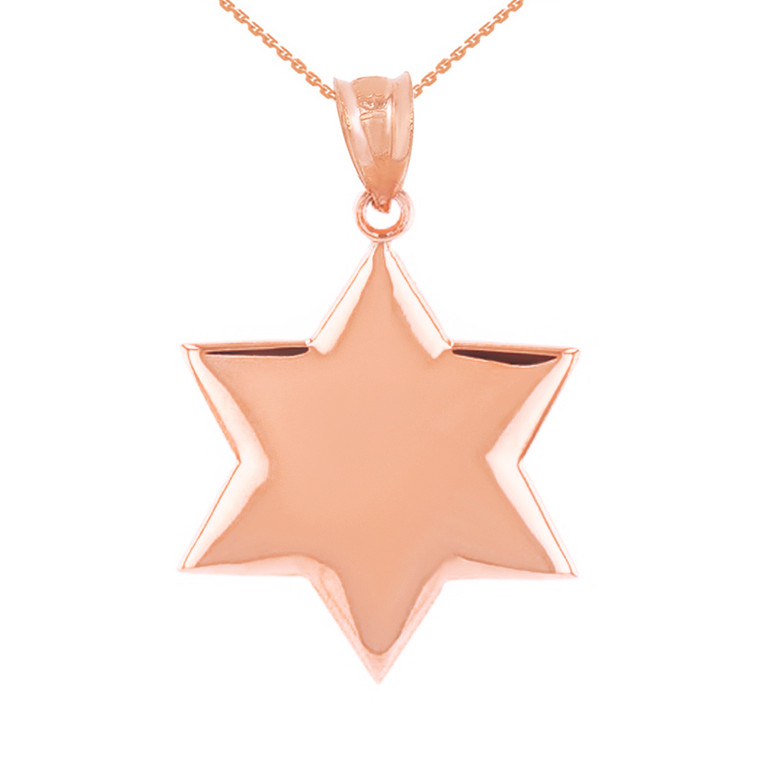 Solid Rose Gold Star Pendant Necklace
