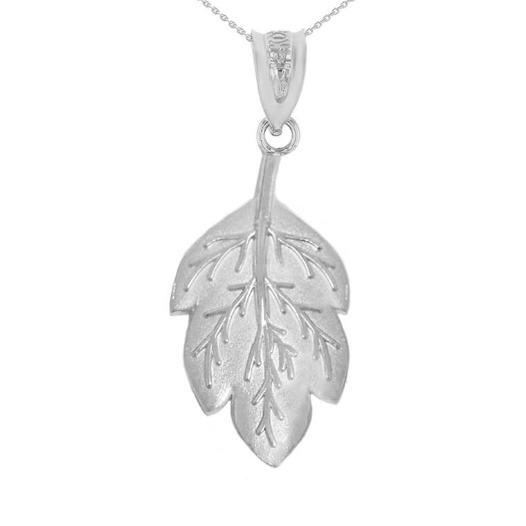Sterling Silver Matte Detailed Textured Leaf Pendant Necklace
