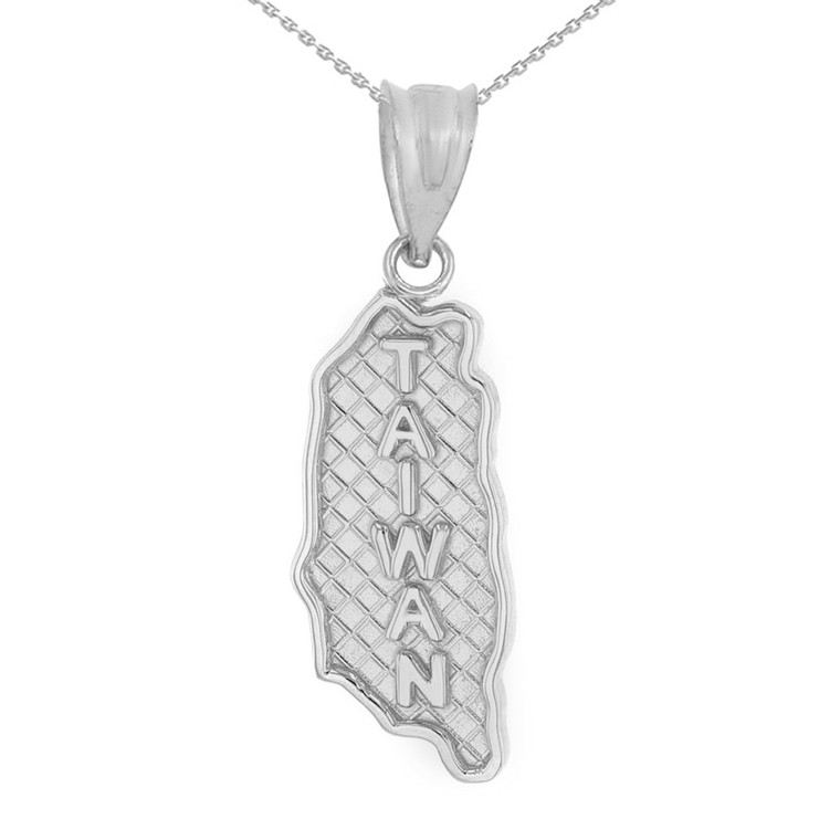 Solid White Gold Country of Taiwan Geography Pendant Necklace