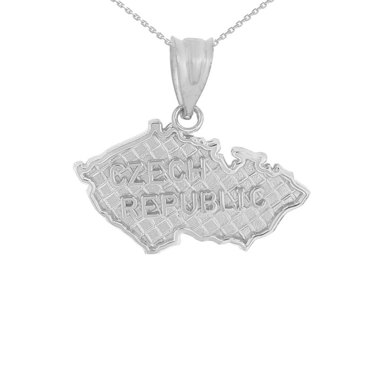 Solid  White Gold Country of Czech Republic Geography Pendant Necklace