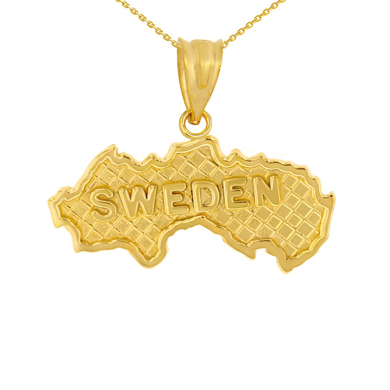Solid Yellow Gold Country of Sweden Geography Pendant Necklace