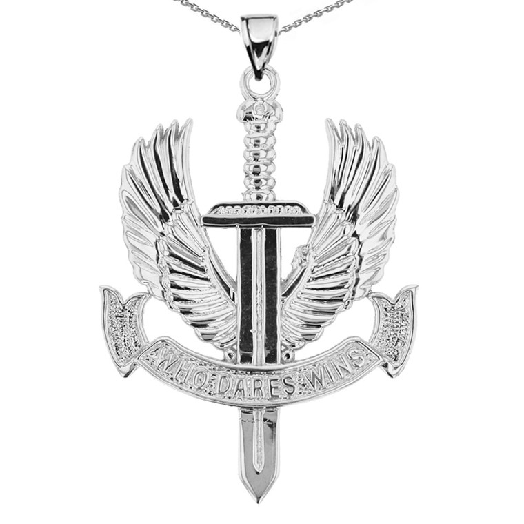 Sterling Silver Who Dares Wins Pendant Necklace