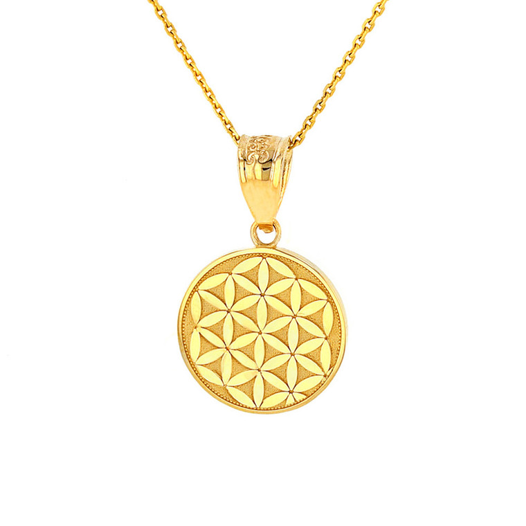 Solid Yellow Gold Flower of Life Dainty Disc Medallion Pendant Necklace