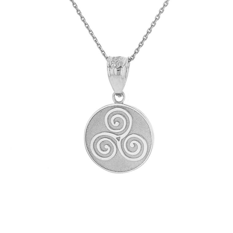 Solid White Gold Celtic Triple Spiral Triskele Irish Knot Disc Medallion Pendant Necklace