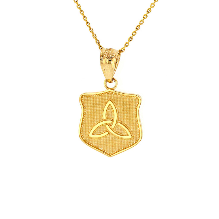 Solid Yellow Gold Trinity Shield Triquetra Celtic Knot Pendant Necklace