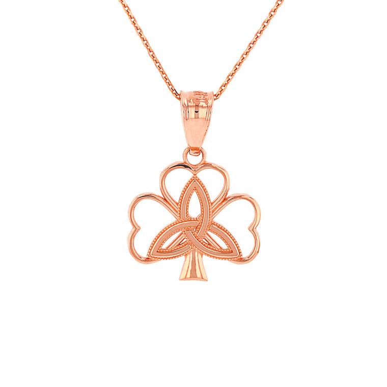 Solid Rose Gold Triquetra Irish Celtic Clover Pendant Necklace