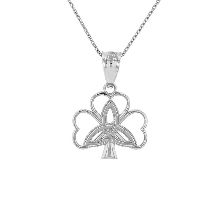Sterling Silver Triquetra Irish Celtic Clover Pendant Necklace