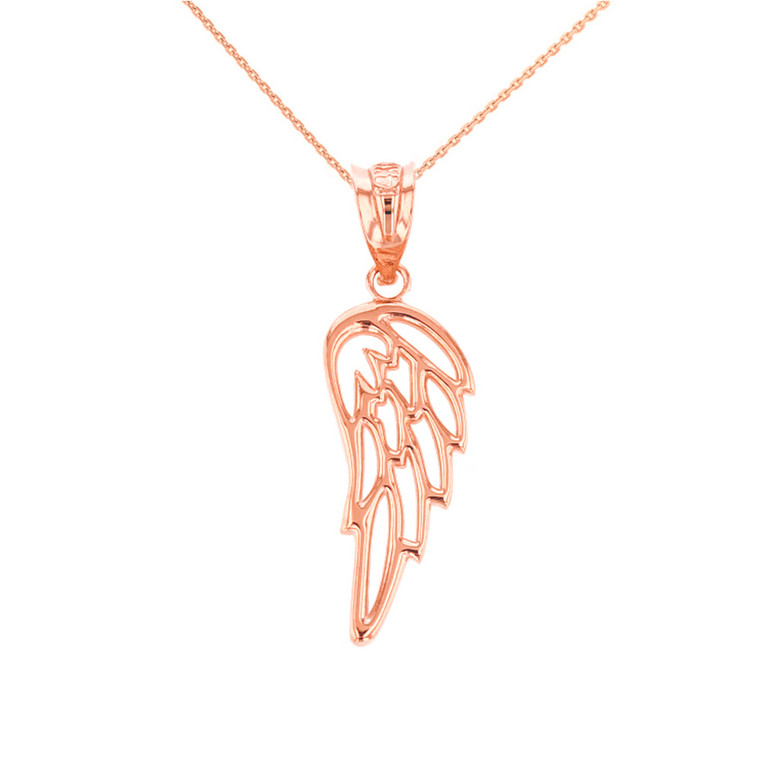 Solid Rose Gold Filigree Guardian Angel Wing Pendant Necklace
