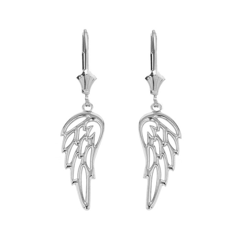 Sterling Silver Filigree Guardian Angel Wing Drop Earring Set