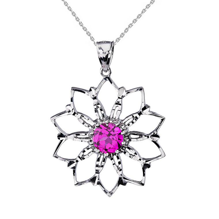 Sterling Silver Pink Stone Lotus Flower Pendant