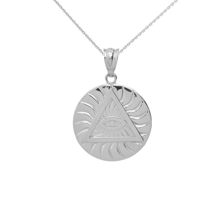 Sterling Silver Illuminati All Seeing Eye of Providence Circle Pendant Necklace