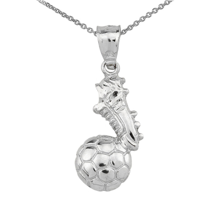 White Gold Soccer Ball With Shoe Charm Pendant Necklace