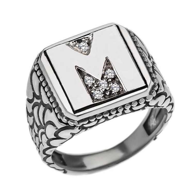 """Sterling Silver Men's Initial """"M"""" Ring"""