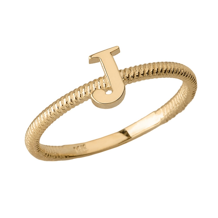Solid Yellow Gold Alphabet Initial Letter J Stackable Ring