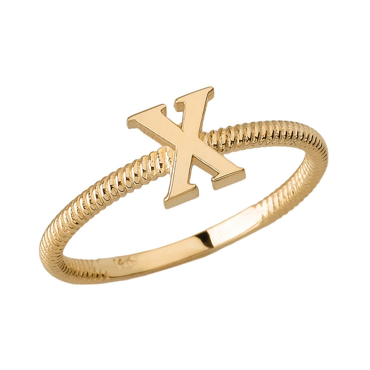Solid Yellow Gold Alphabet Initial Letter X Stackable Ring
