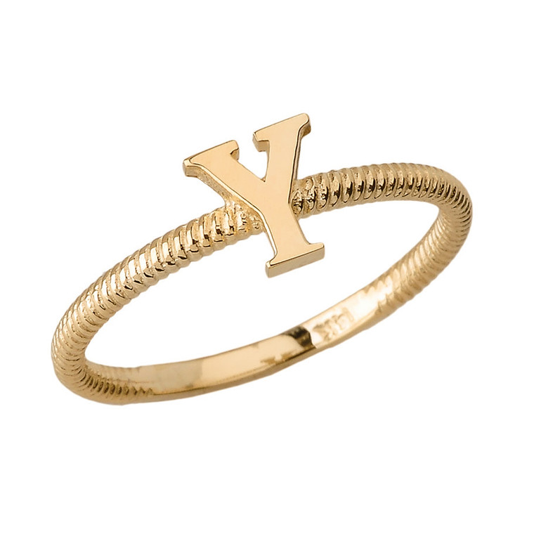 Solid Yellow Gold Alphabet Initial Letter Y Stackable Ring