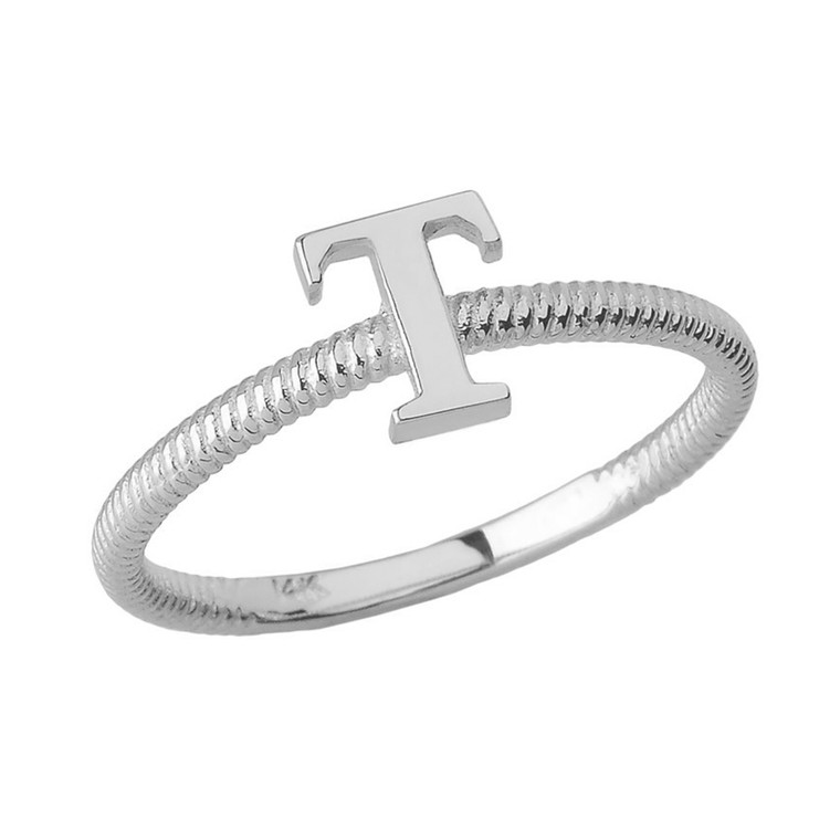 Solid White Gold Alphabet Initial Letter T Stackable Ring