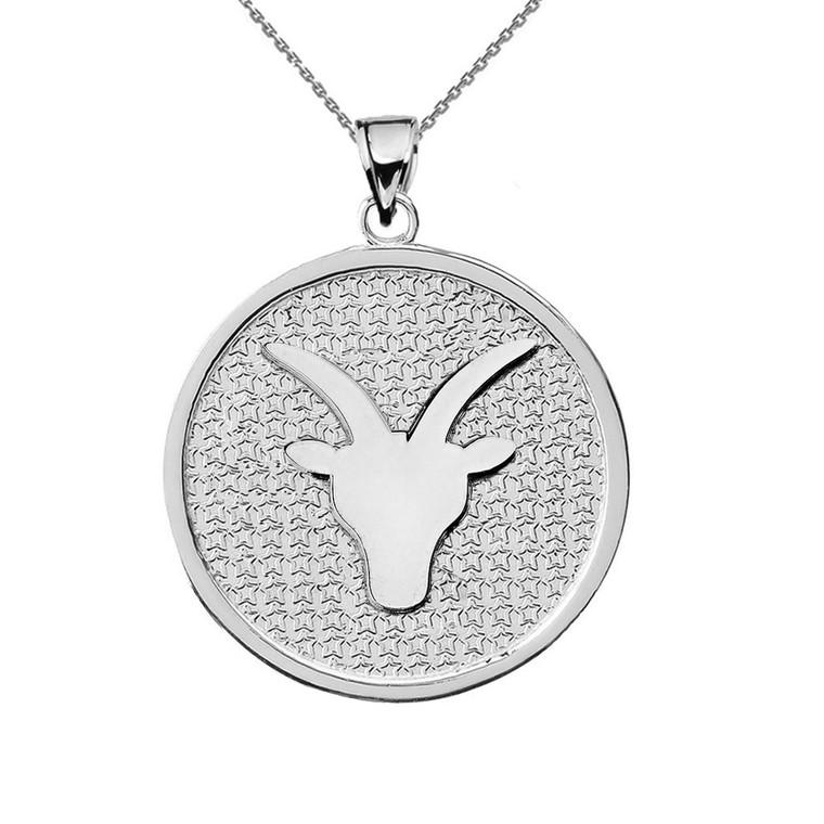 Sterling Silver Capricorn Zodiac Disc Pendant Necklace
