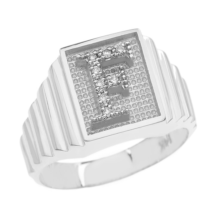 Sterling Silver Diamond Initial F Ring