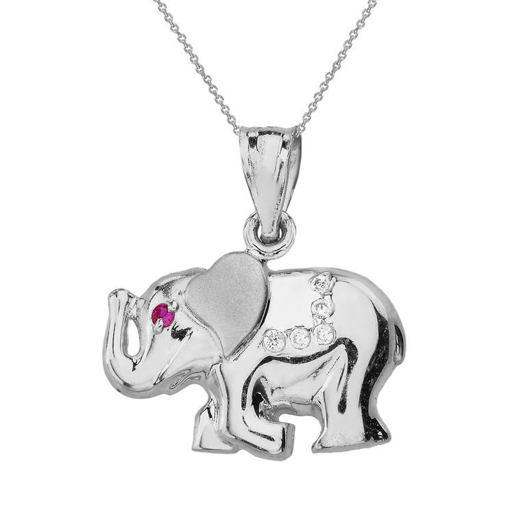 Sterling Silver Elephant CZ Pendant Necklace