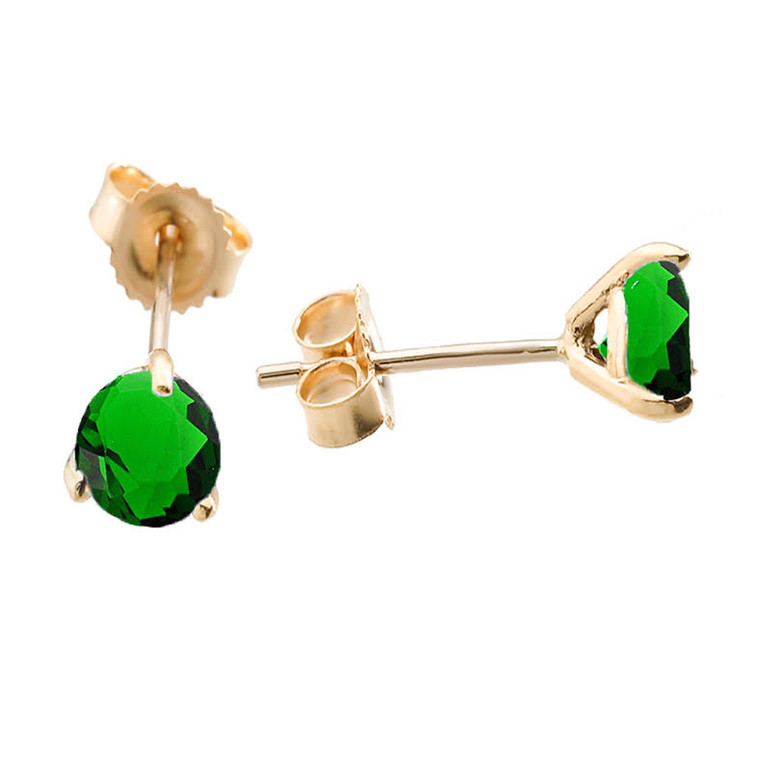 Martini Stud Earrings Yellow Gold with ( LCE ) Emerald